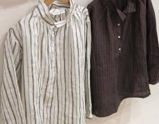 ARTE POVERA/リネンストライプバルーンシャツ/リネンストライプノーカラーワンピース